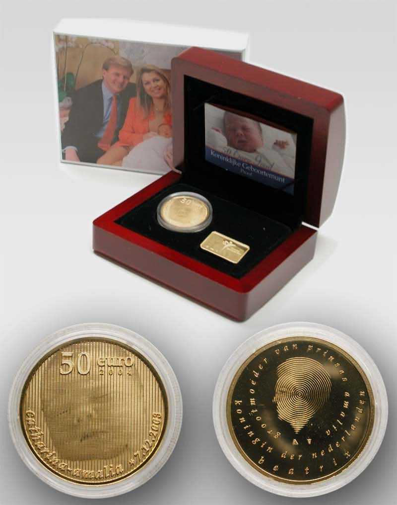 Lieferumfang:Niederlande : 50 Euro Geburt Prinzessin Catharina-Amalia in Originalverpackung (Verkauf nur zusammen mit 20 Euro - Stück !)  2004 PP