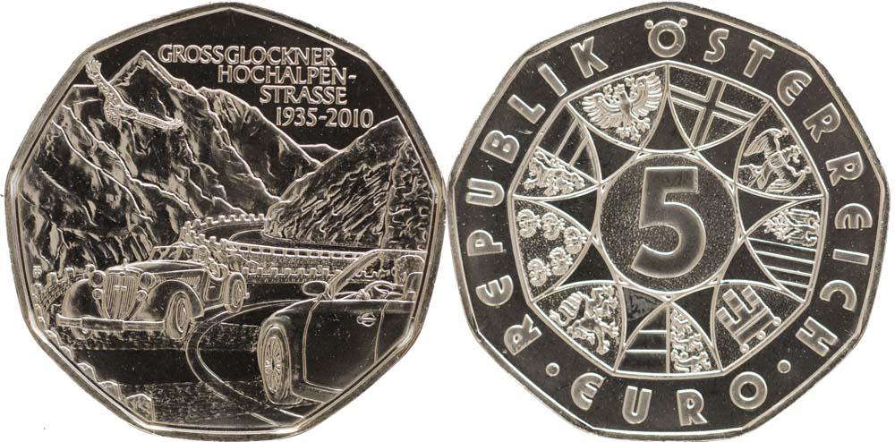 Lieferumfang:Österreich : 5 Euro 75 Jahre Großglockner Hochalpenstraße  2010 Stgl. 5 Euro Großglockner 2010
