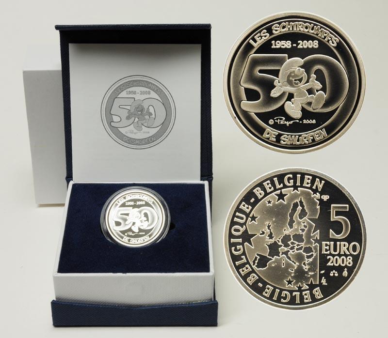 Lieferumfang:Belgien : 5 Euro Die Schlümpfe inkl. Originaletui und Zertifikat  2008 PP 5 Euro Schlümpfe 2008