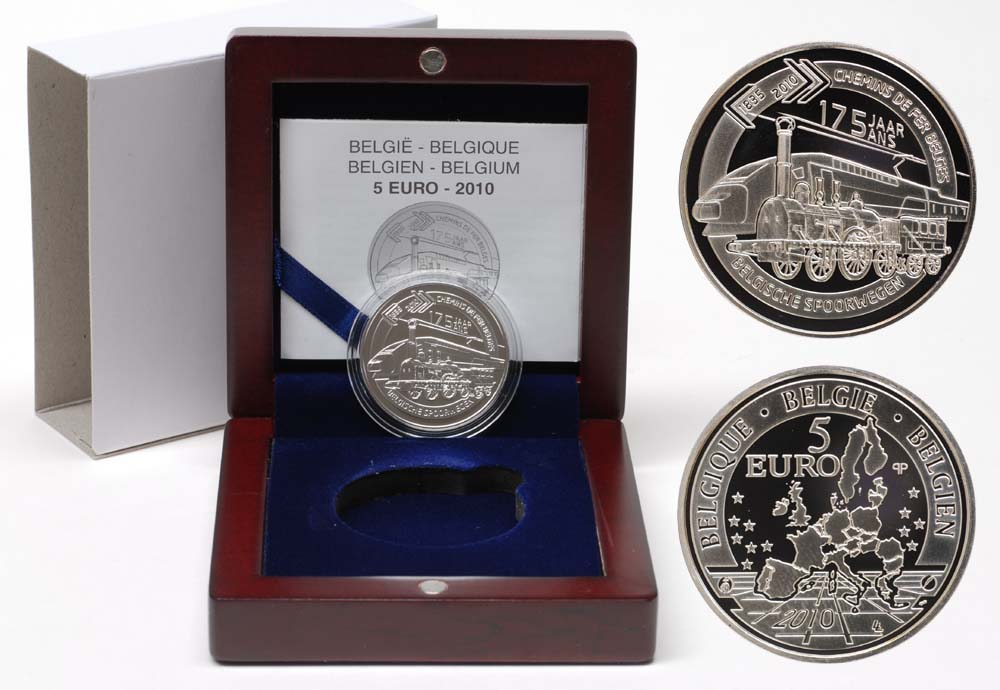 Lieferumfang:Belgien : 5 Euro 175 Jahre Eisenbahn in Belgien inkl. Originaletui und Zertifikat  2010 PP