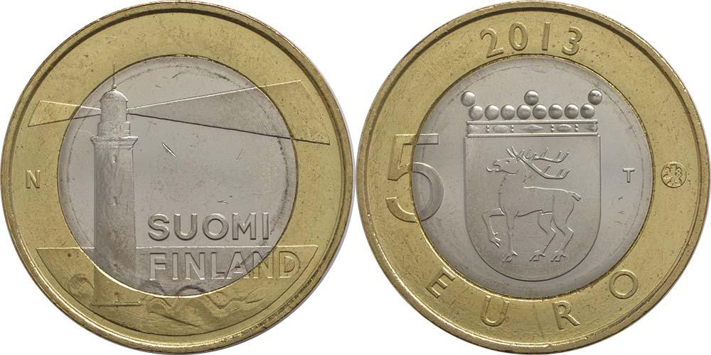 Lieferumfang:Finnland : 5 Euro Aaland - Leuchtturm v. Sälskär  2013 Stgl.