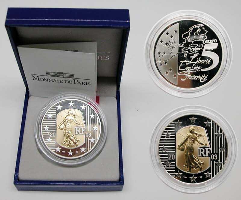 """Lieferumfang:Frankreich : 5 Euro """"Die Säerin"""", inkl. Originaletui und Zertifikat - Bi-Metall-Münze Gold/Silber  2003 PP"""