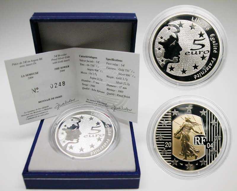Lieferumfang:Frankreich : 5 Euro Die Säerin, inkl. Originaletui und Zertifikat - Bi-Metall-Münze Gold/Silber  2004 PP