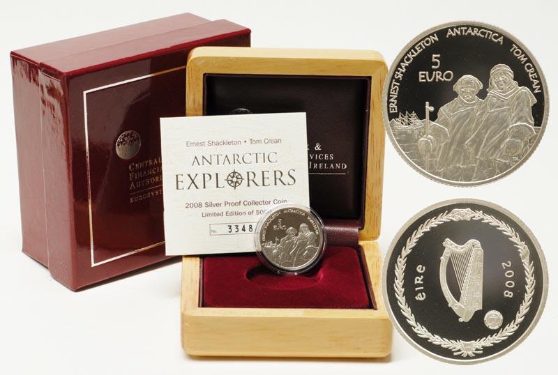 Lieferumfang:Irland : 5 Euro Shackleton und Crean inkl. Originaletui und Zertifikat  2008 PP 5 Euro Polarjahr Irland 2008