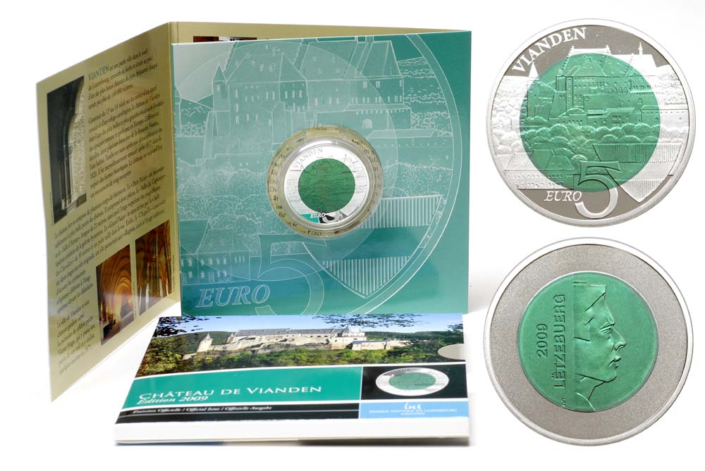 Lieferumfang:Luxemburg : 5 Euro Burg Vianden im Originalblister  2009 PP Niob