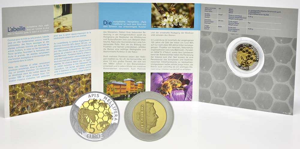 Lieferumfang:Luxemburg : 5 Euro Honigbiene - Biene  2013 PP Biene