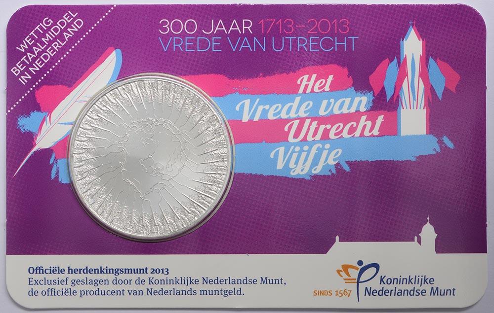 Lieferumfang:Niederlande : 5 Euro 300 Jahre Frieden von Utrecht  2013 vz.