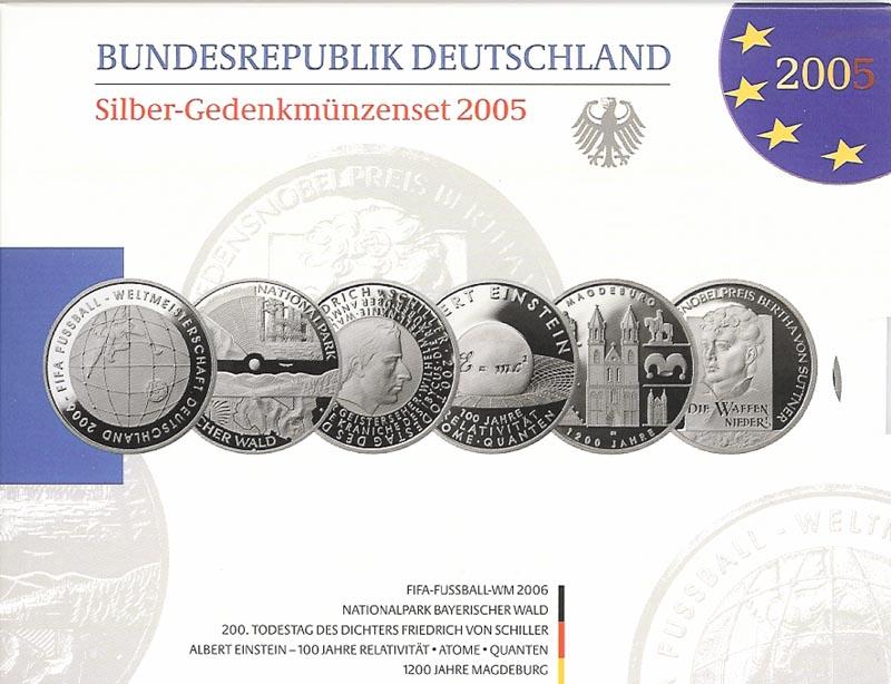Lieferumfang:Deutschland : 60 Euro 6x 10 Euro - Ausgaben aus Deutschland des Jahres 2005 (Fußball WM, Bayerischer Wald, Schiller, Einstein, Magdeburg, Suttner)  2005 PP