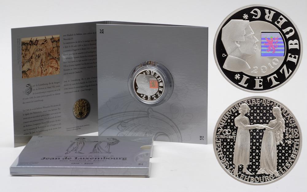 Lieferumfang:Luxemburg : 700 Cent 700. Jahrestag der Heirat Johann von Luxemburg mit Elisabeth von Böhmen im Originalblister  2010 PP