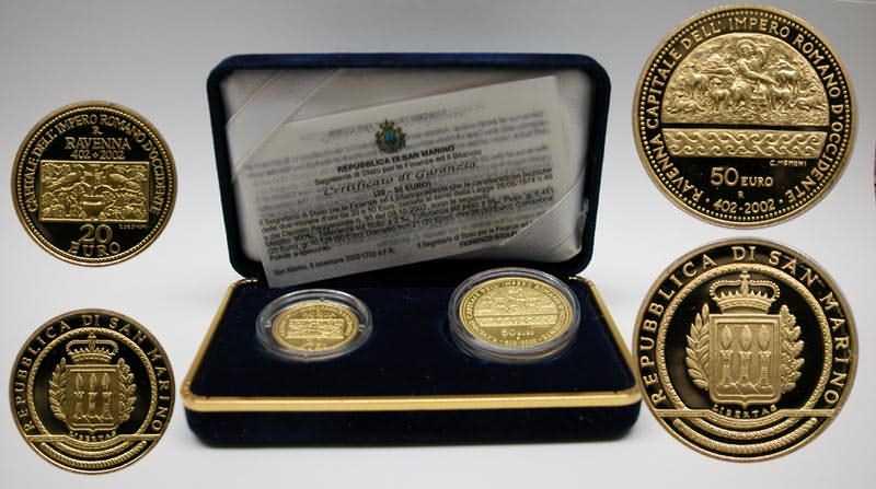 Lieferumfang:San Marino : 70 Euro 20 + 50 Euro Ravenna  2002 PP