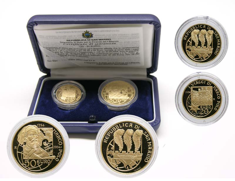 Lieferumfang:San Marino : 70 Euro Set: 20+50 Euro Marco Polo inkl. Originaletui und Zertifikat  2004 PP