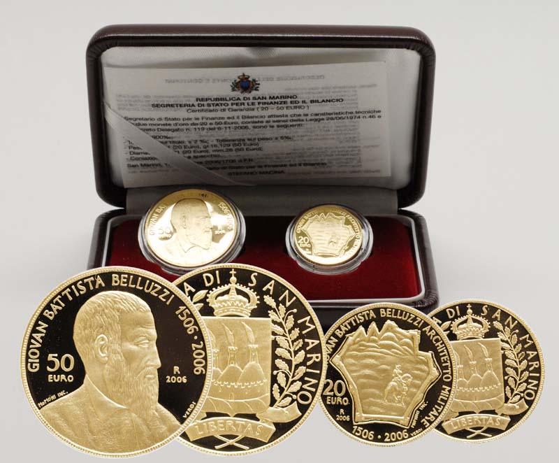 Lieferumfang:San Marino : 70 Euro Set aus 20 + 50 Euro Belluzzi inkl. Originaletui und Zertifikat  2006 PP 20 50 Euro Belluzzi Italien 2006