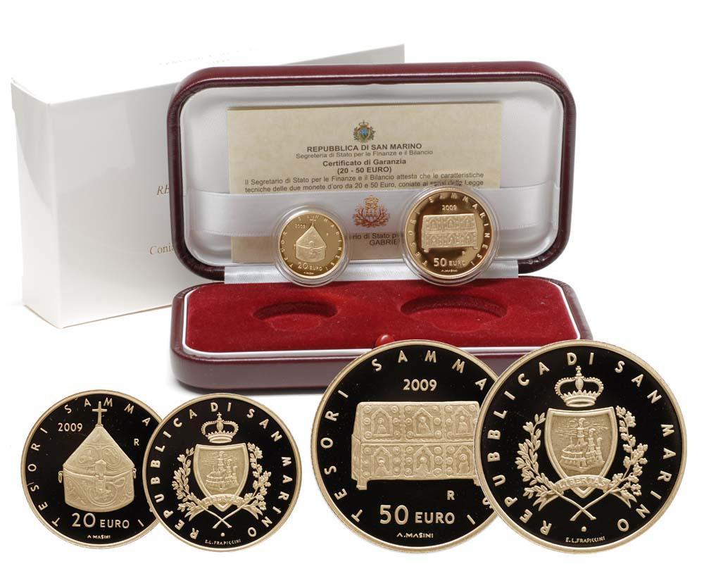 Lieferumfang:San Marino : 70 Euro Set aus 20 + 50 Euro Tesori Sammarinesi inkl. Originaletui und Zertifikat  2009 PP 20 + 50 Euro San Marino 2009 Gold