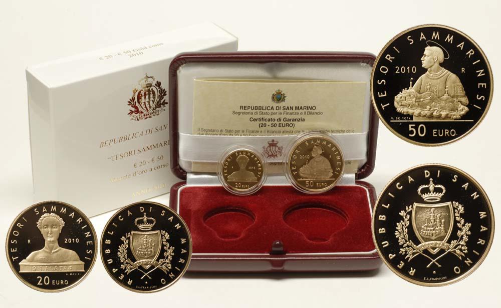 Lieferumfang:San Marino : 70 Euro Set aus 20 + 50 Euro Tesori Sammarinesi inkl. Originaletui und Zertifikat  2010 PP