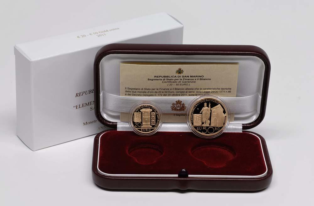 Lieferumfang:San Marino : 70 Euro Set aus 20 + 50 Euro Architektonische Elemente San Marinos  2011 PP