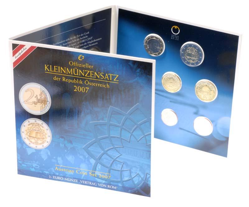 Österreich : 3,88 Euro Originalsatz der Österreichischen Münze inkl. 2 Euro Gedenkmünze Römische Verträge 2007 Stgl.