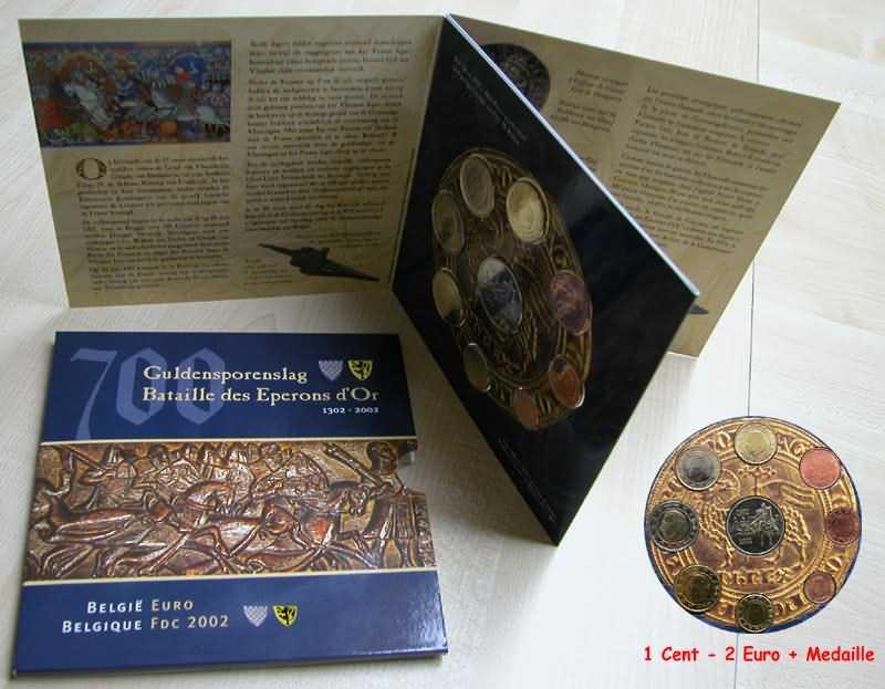 Lieferumfang:Belgien : 3,88 Euro original Kursmünzensatz der belgischen Münze  2002 bfr