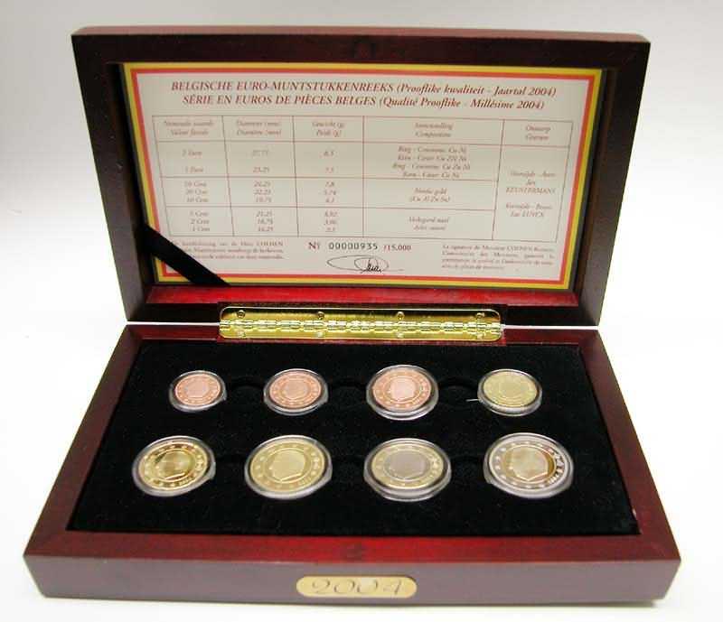 Lieferumfang:Belgien : 3,88 Euro original Kursmünzensatz der belgischen Münze - in Holzkassette  2004 PP
