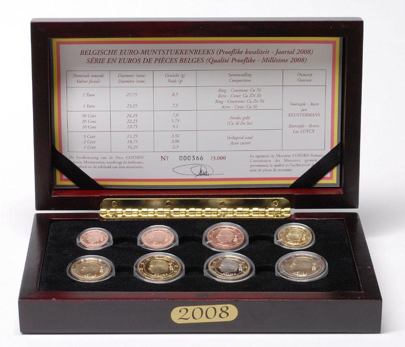 Lieferumfang:Belgien : 3,88 Euro original Kursmünzensatz der belgischen Münze  2008 PP KMS Belgien 2008 PP