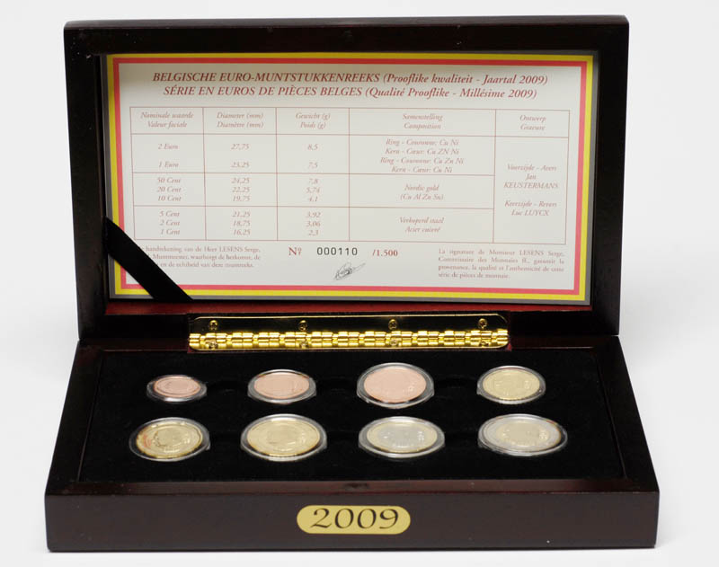 Lieferumfang:Belgien : 3,88 Euro original Kursmünzensatz der belgischen Münze  2009 PP KMS Belgien 2009 PP