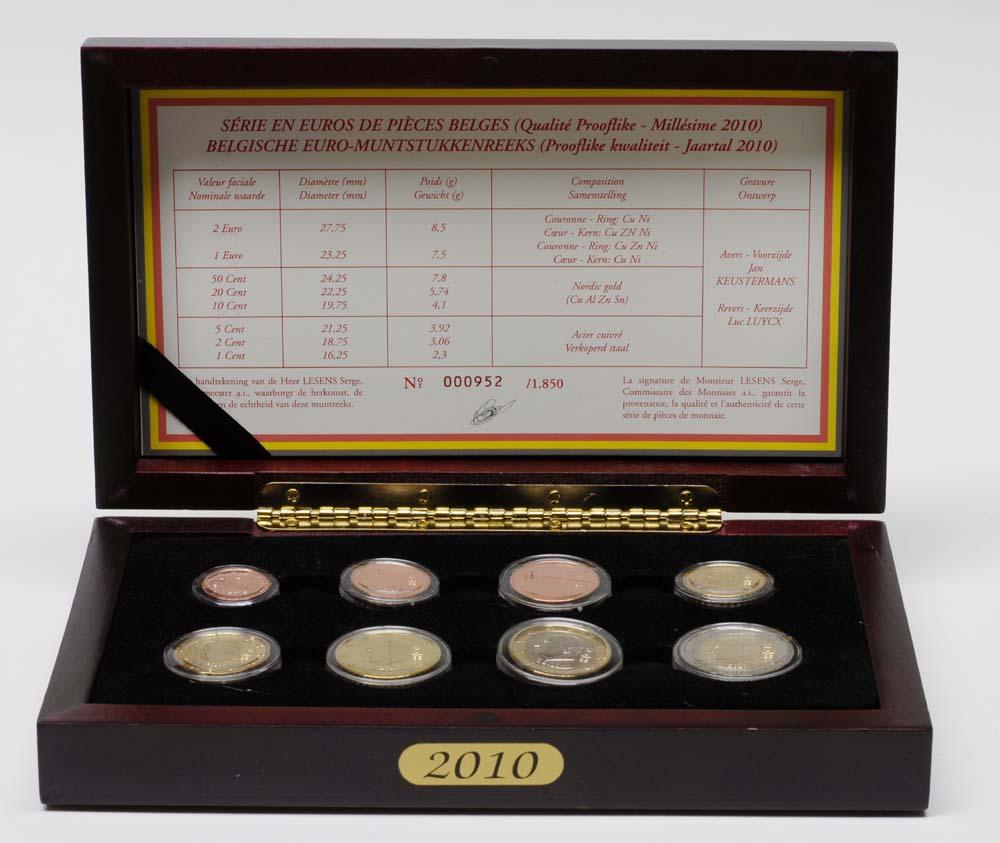 Übersicht:Belgien : 3,88 Euro original Kursmünzensatz der belgischen Münze  2010 PP KMS Belgien 2010 PP