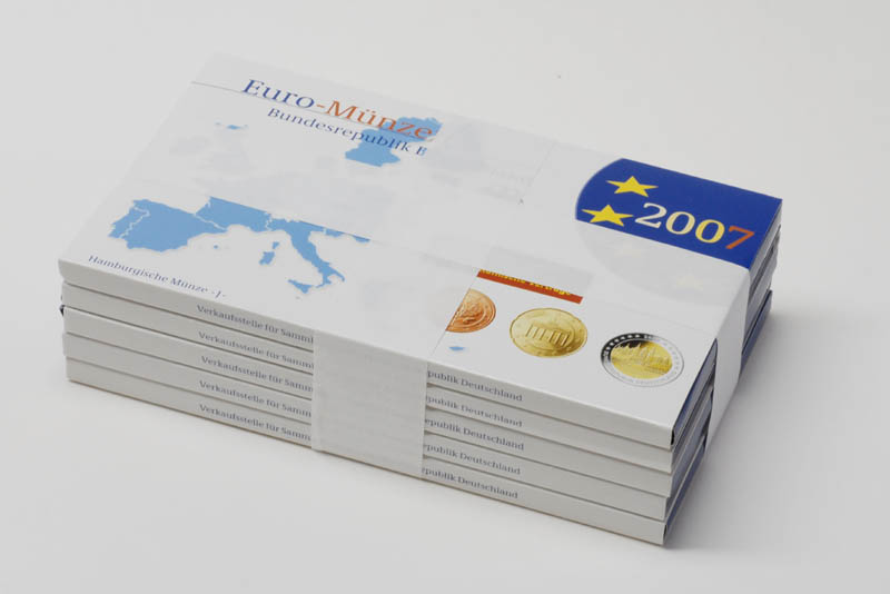 """Lieferumfang:Deutschland : 29,4 Euro KMS Deutschland mit zusätzlicher 5 x 2 Euro Gedenkmünze """"Römische Verträge""""  2007 PP"""