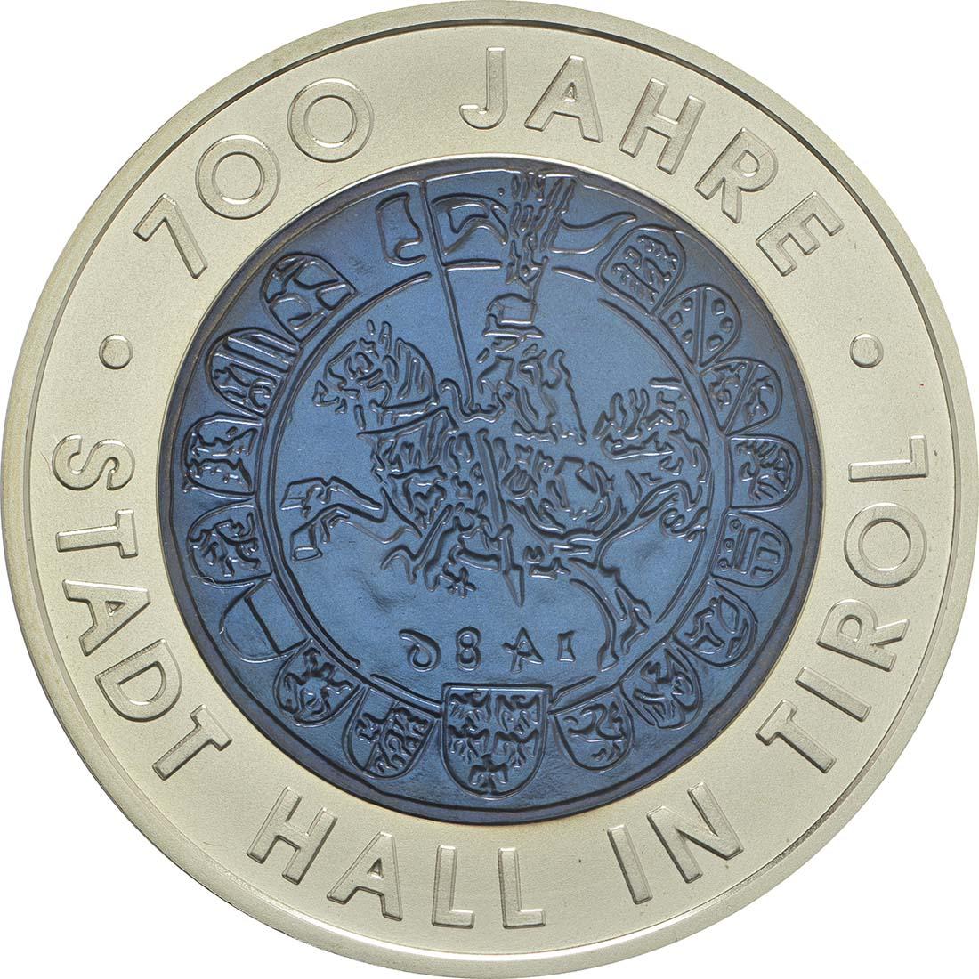 Vorderseite :Österreich : 25 Euro 700 Jahre Stadt Hall  2003 Stgl.