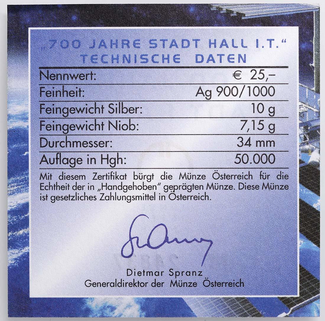 Zertifikat :Österreich : 25 Euro 700 Jahre Stadt Hall  2003 Stgl.