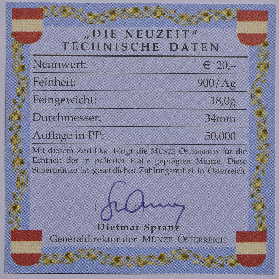 Zertifikat:Österreich : 20 Euro Barockzeit / Prinz Eugen  2002 PP