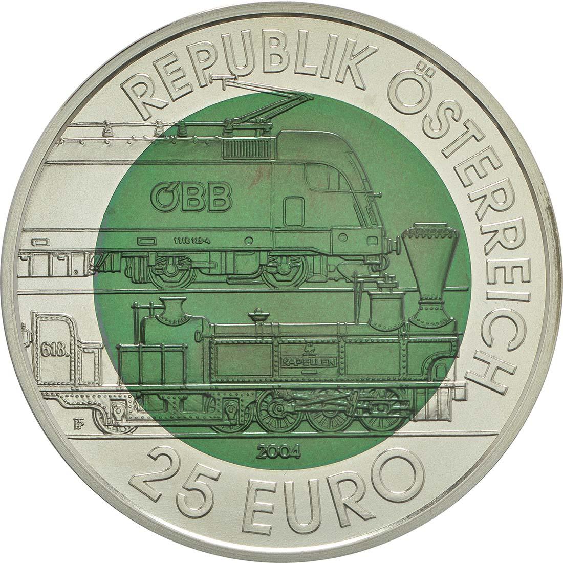 Rückseite:Österreich : 25 Euro Semmeringbahn  2004 Stgl.