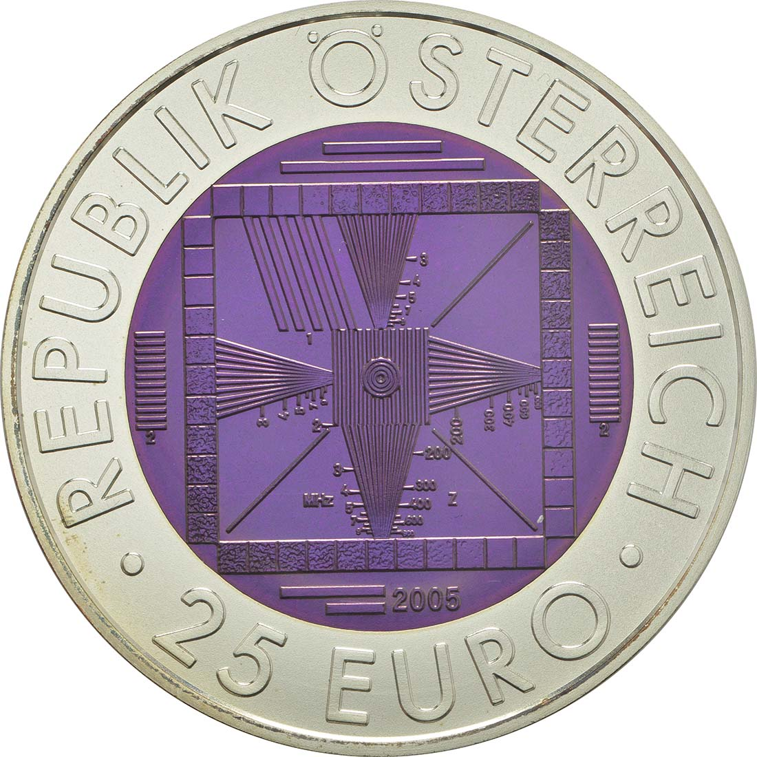 Rückseite:Österreich : 25 Euro 50 Jahre TV / Fernsehen  2005 Stgl. 25 Euro Fernsehen 2005 PP NIOB