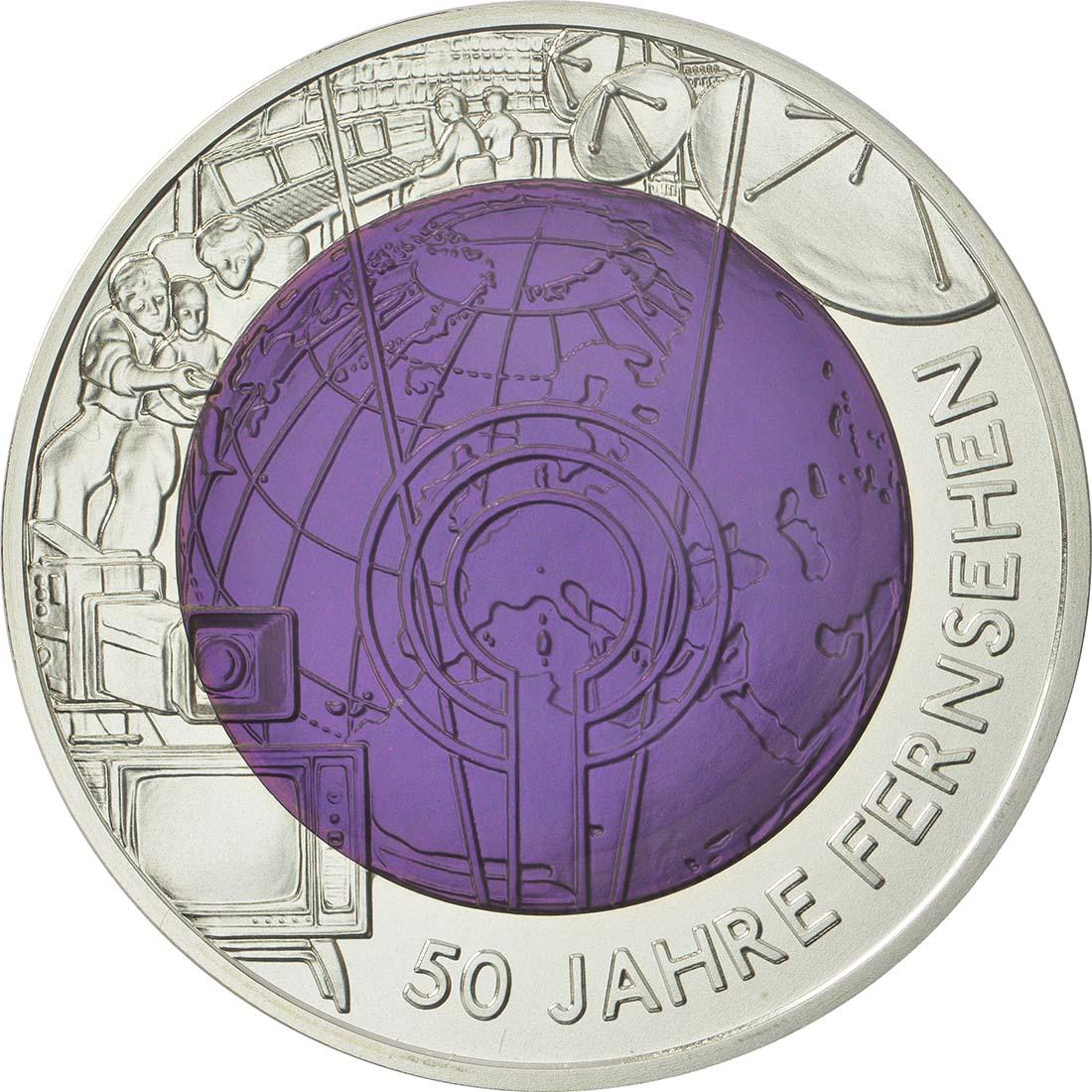 Vorderseite :Österreich : 25 Euro 50 Jahre TV / Fernsehen  2005 Stgl. 25 Euro Fernsehen 2005 PP NIOB