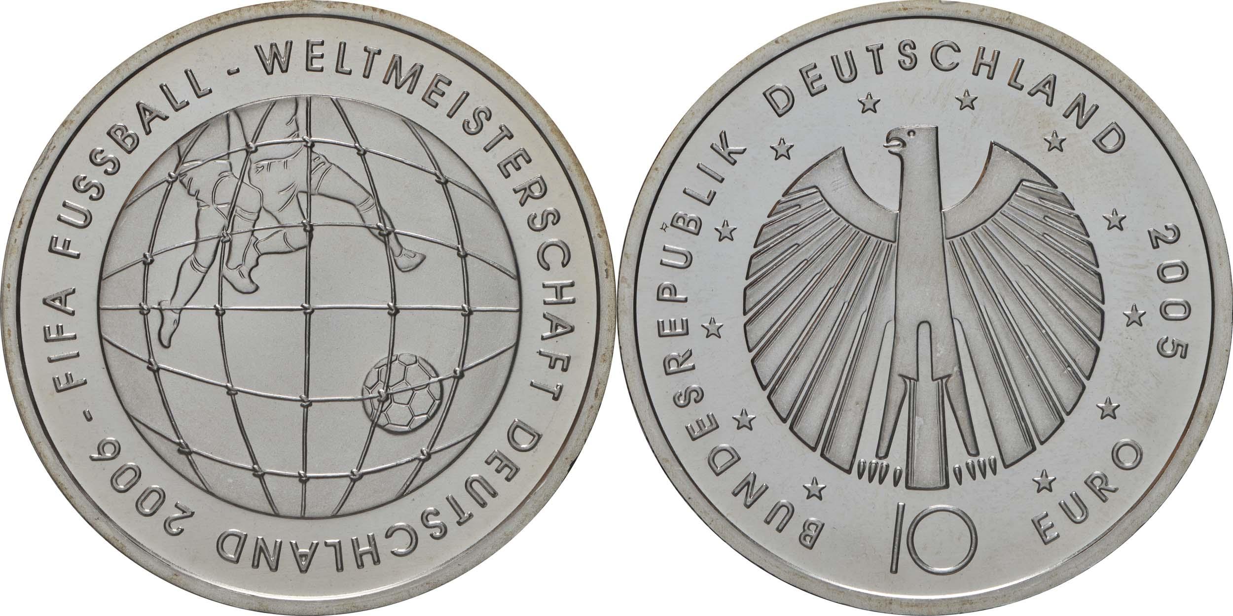 Lieferumfang:Deutschland : 10 Euro III. Ausgabe FIFA Fußball WM Deutschland  2006 Buchstabe unserer Wahl  2005 bfr