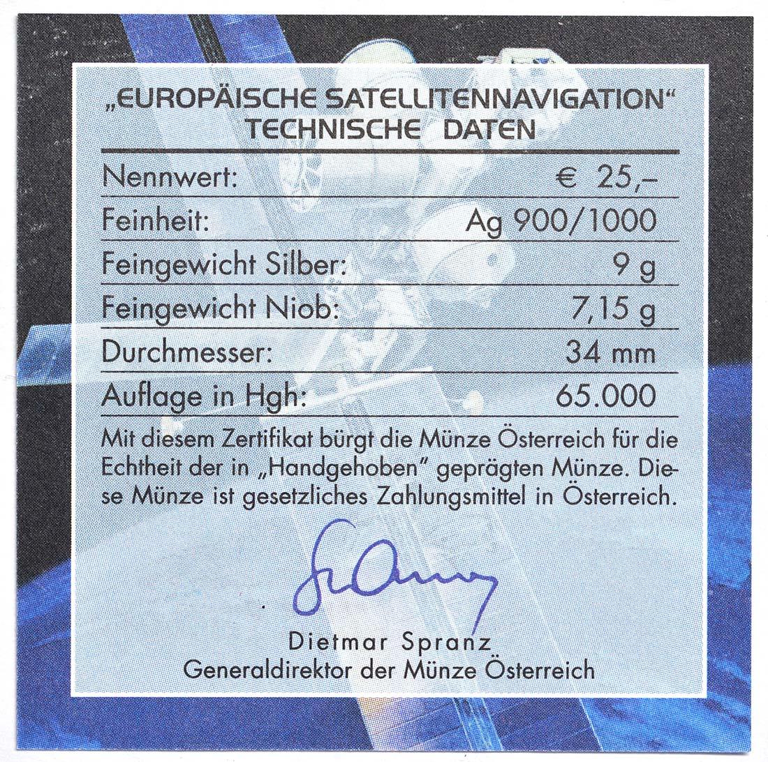 Zertifikat:Österreich : 25 Euro Europäische Satellitennavigation  2006 Stgl. Österreich NIOB 2006;25 Euro Satellitennavigation