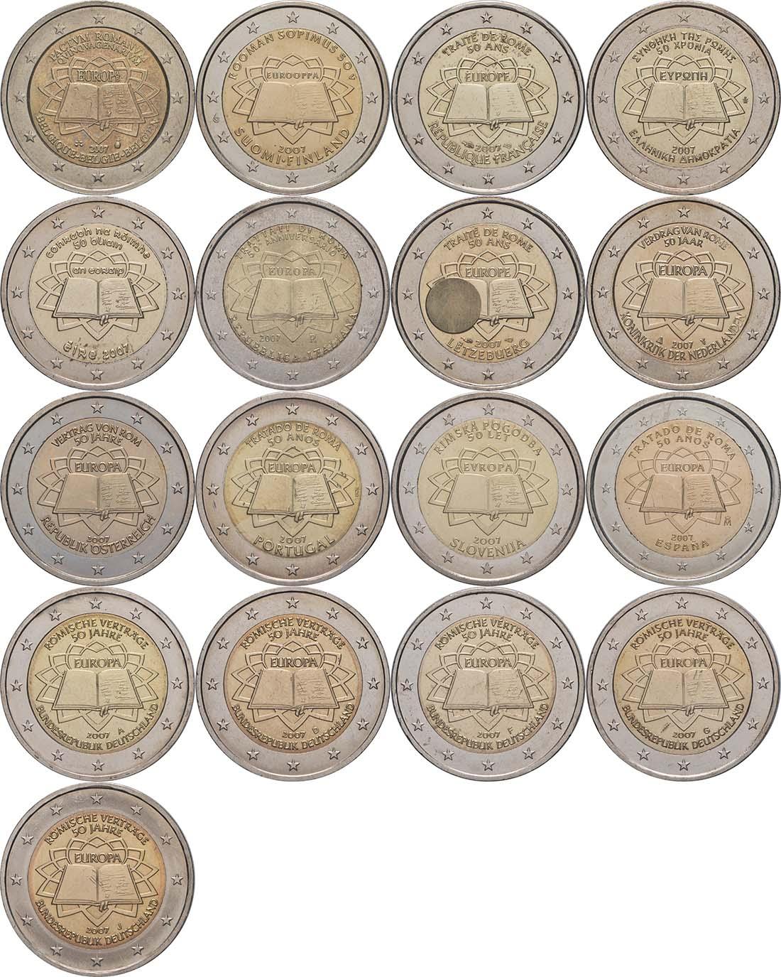 Lieferumfang:International : 2 Euro Römische Verträge, Set aus 16 Münzen = 12 Länder : Belgien, Deutschland (A,D,F,G,J), Finnland, Frankreich, Griechenland, Irland, Italien, Luxemburg, Niederlande, Österreich, Portugal, Spanien  2007 vz. 2 Euro Römische Verträge
