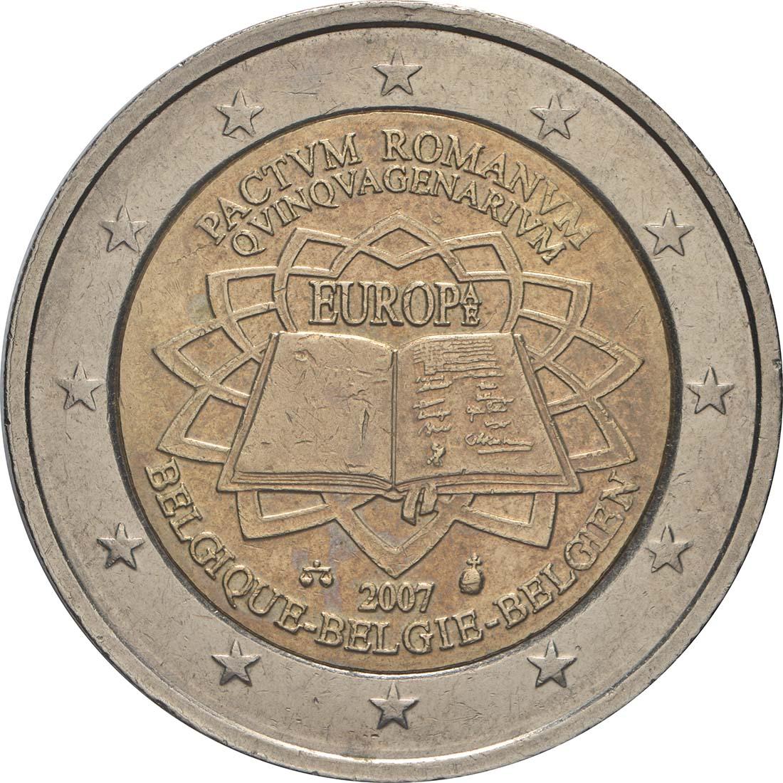 Rückseite:Belgien : 2 Euro Römische Verträge  2007 bfr