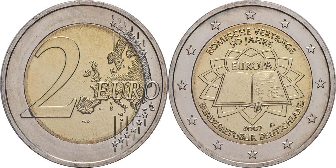 Lieferumfang:Deutschland : 2 Euro Römische Verträge  2007 bfr