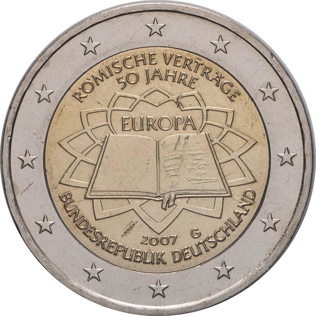 Rückseite:Deutschland : 2 Euro Römische Verträge  2007 bfr