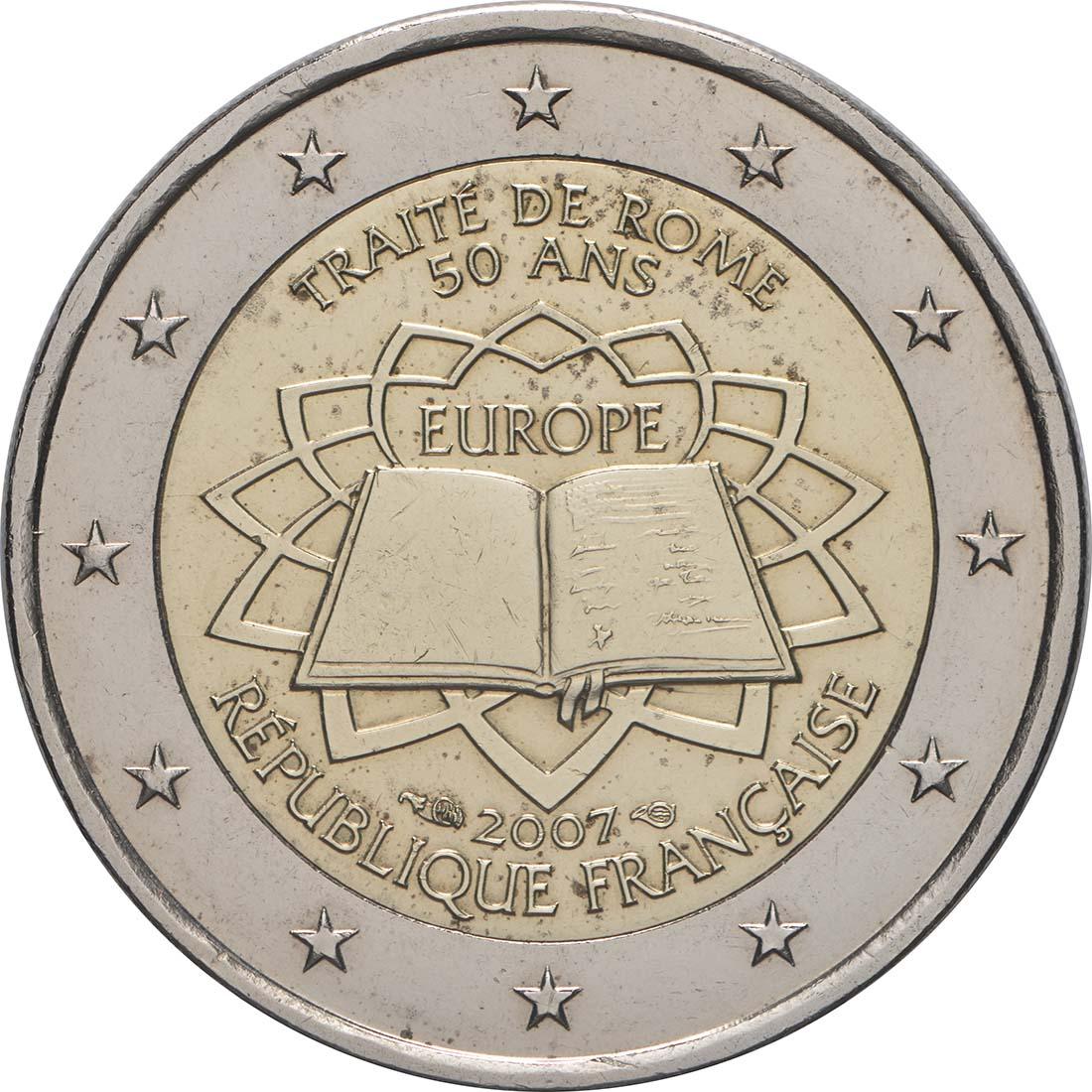 Rückseite:Frankreich : 2 Euro Römische Verträge  2007 bfr