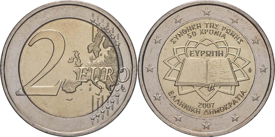 Lieferumfang:Griechenland : 2 Euro Römische Verträge  2007 bfr