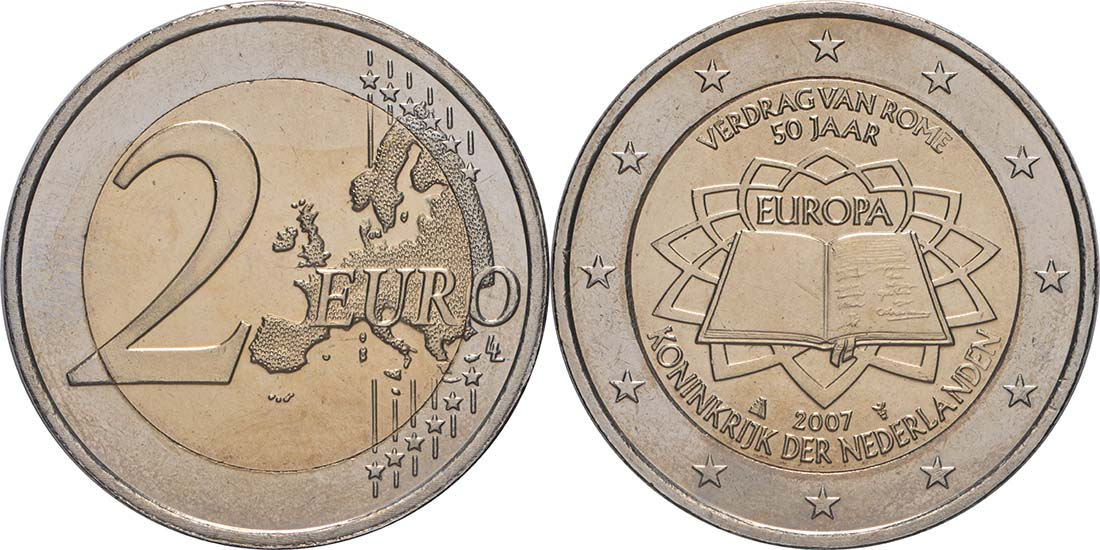 Lieferumfang:Niederlande : 2 Euro Römische Verträge  2007 bfr