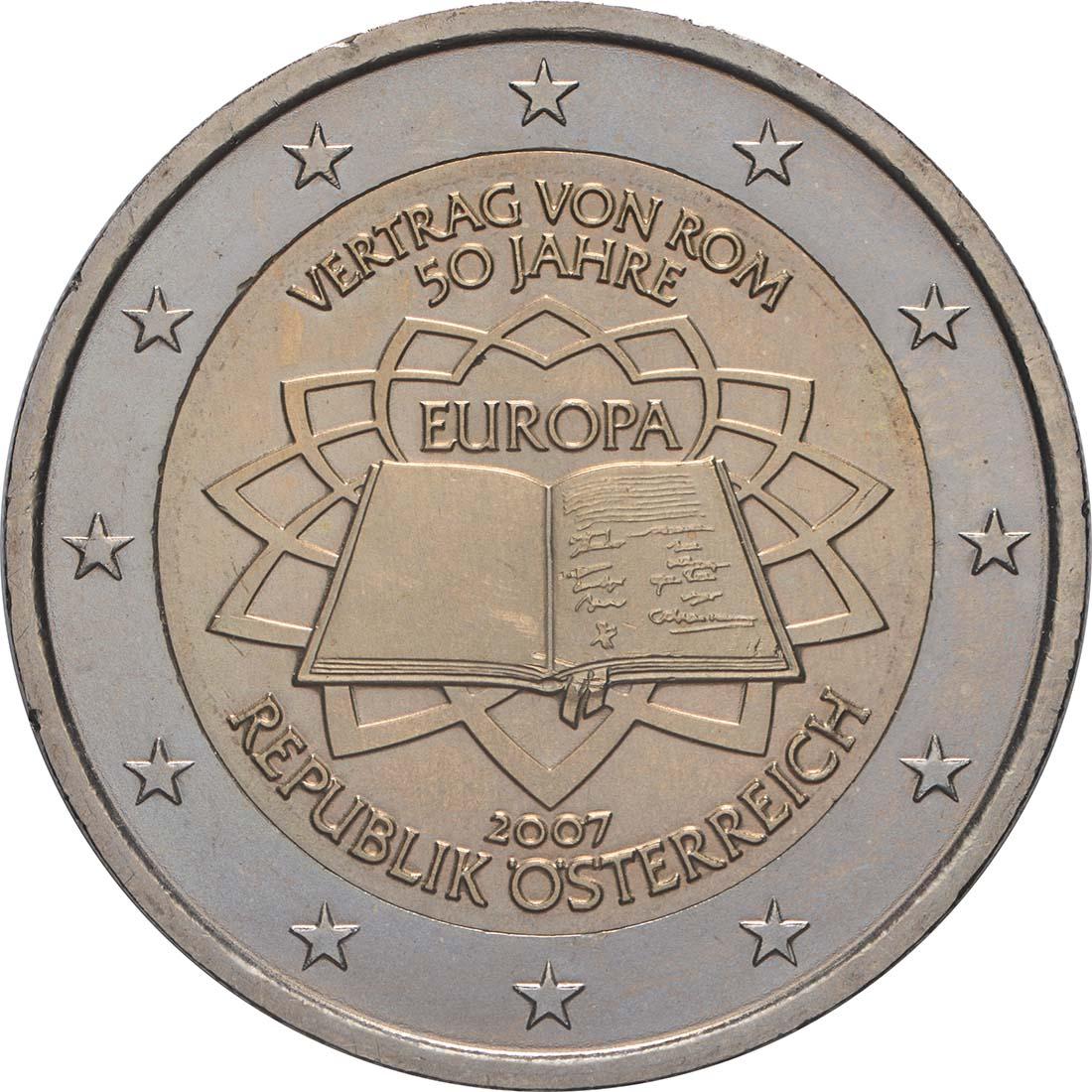 Rückseite:Österreich : 2 Euro Römische Verträge  2007 bfr