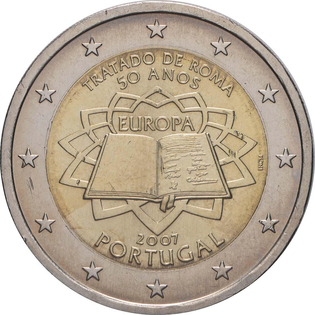Rückseite:Portugal : 2 Euro Römische Verträge  2007 bfr