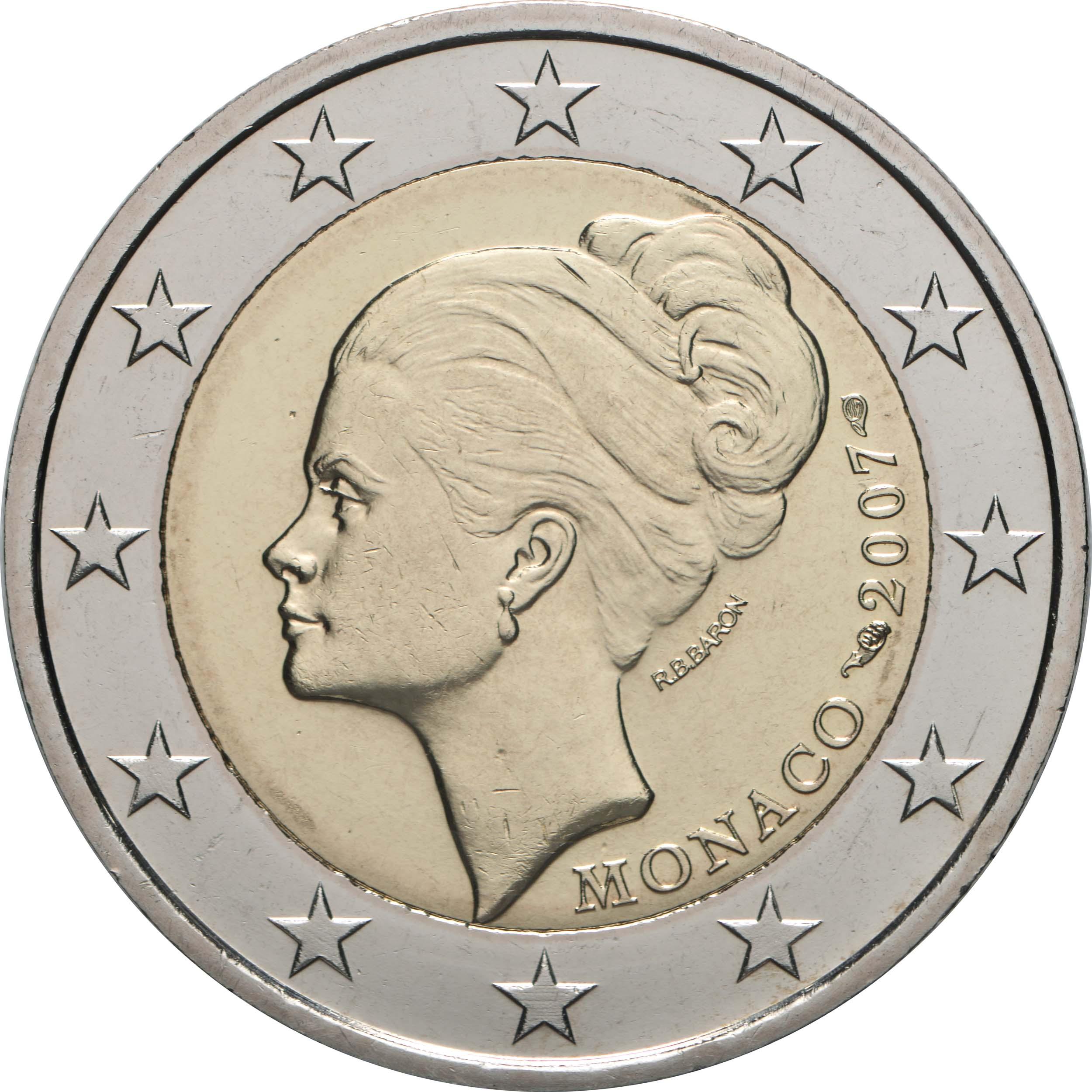 Rückseite :Monaco : 2 Euro Gracia Patrizia / Grace Kelly  2007 bfr 2 Euro Monaco 2007