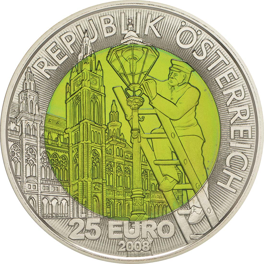 Rückseite :Österreich : 25 Euro Faszination Licht  2008 Stgl. Österreich 25 Euro Niob 2008