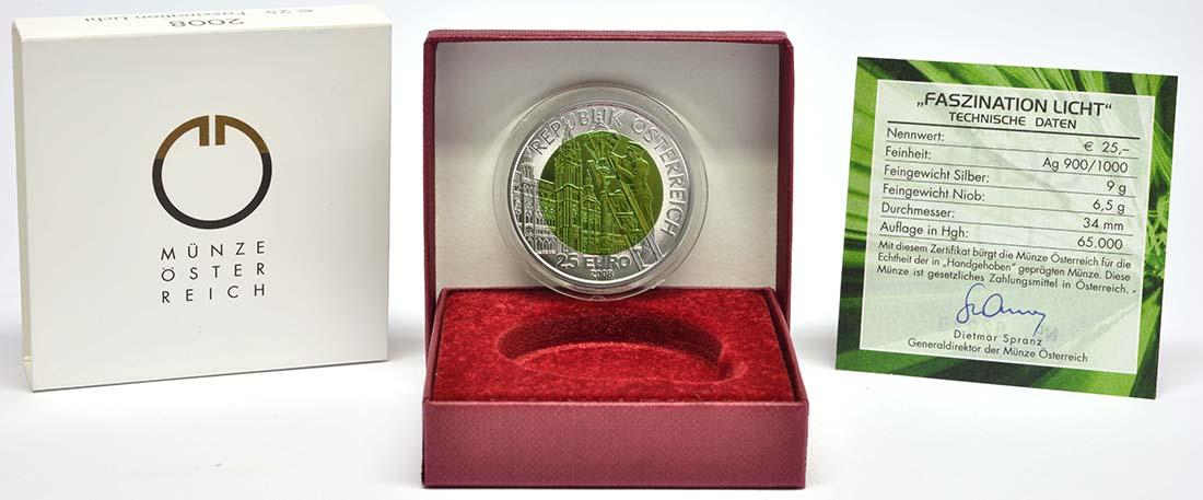 Lieferumfang :�sterreich : 25 Euro Faszination Licht  2008 Stgl. �sterreich 25 Euro Niob 2008