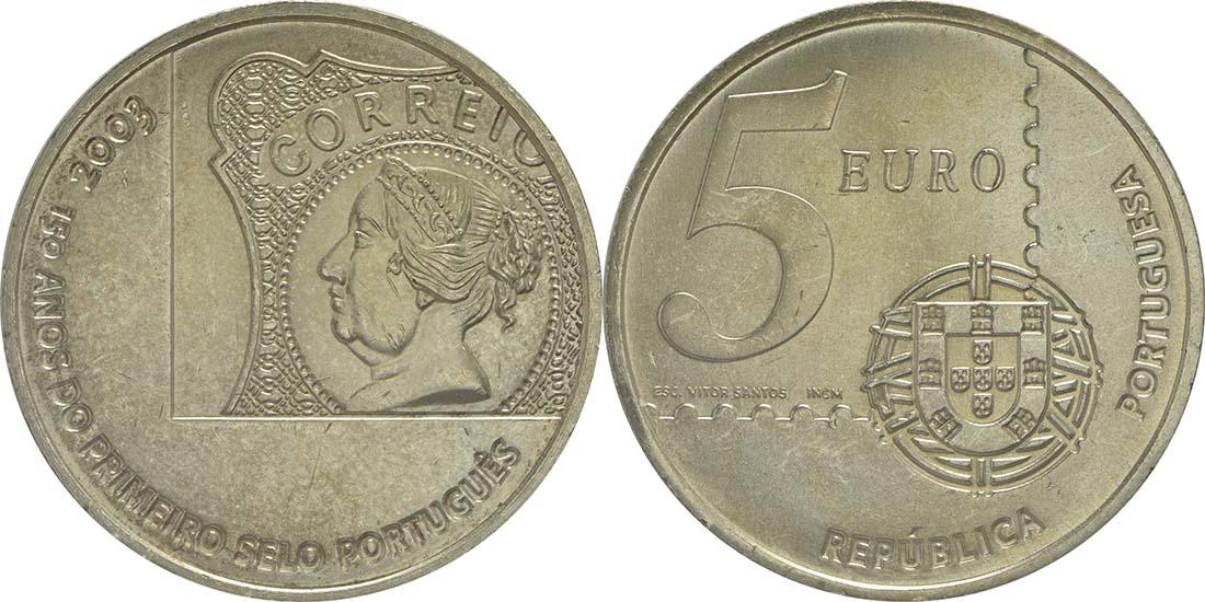 Lieferumfang:Portugal : 5 Euro 150 Jahre Briefmarke  2003 Stgl.