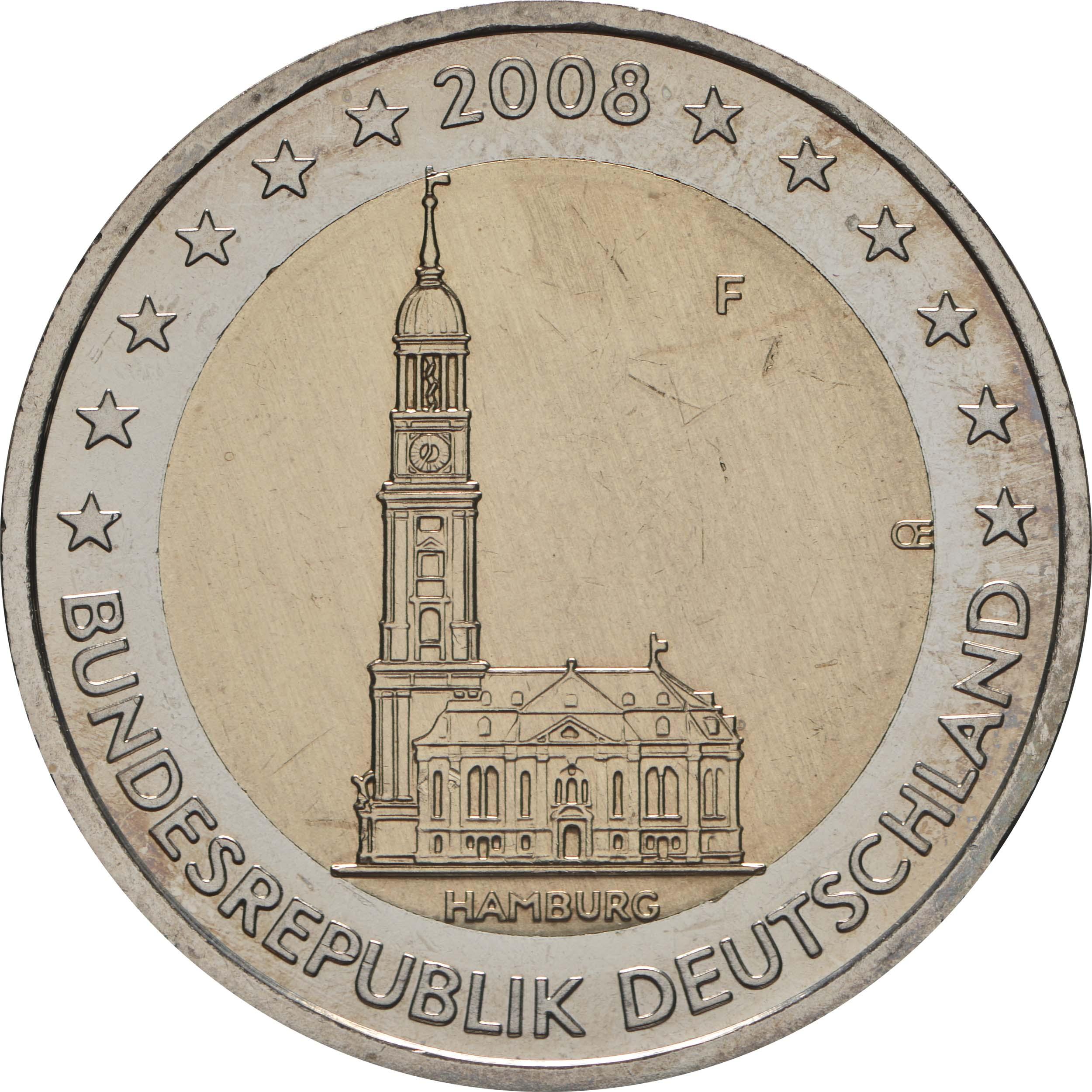 Rückseite:Deutschland : 2 Euro Hamburger Michel - Variante mit alter Wertseite  2008 Stgl.