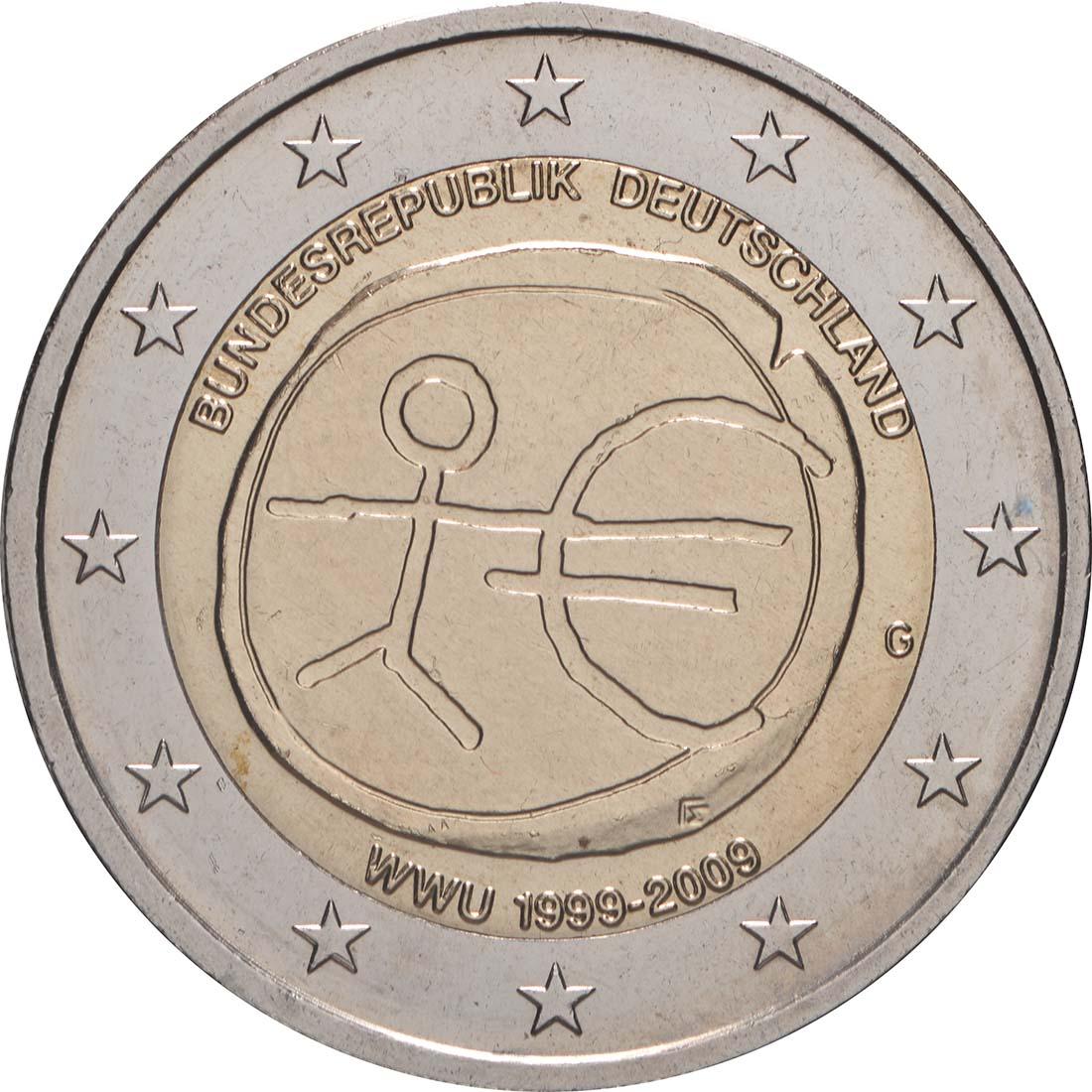 Rückseite:Deutschland : 2 Euro 10 Jahre Euro  2009 Stgl.