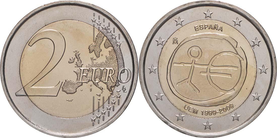 Lieferumfang:Spanien : 2 Euro 10 Jahre Euro  2009 bfr